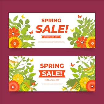 Modelo de banners de venda de primavera de design plano