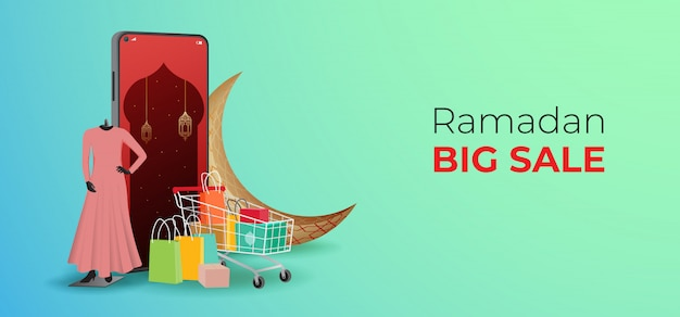 Modelo de banners de venda de ramadã, desconto e promoção de design.