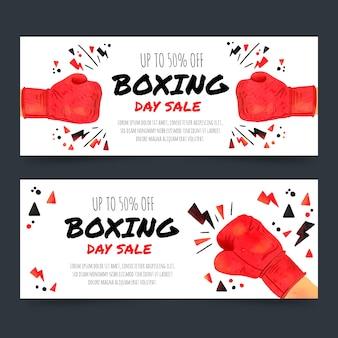 Modelo de banners de venda em aquarela dia de boxe