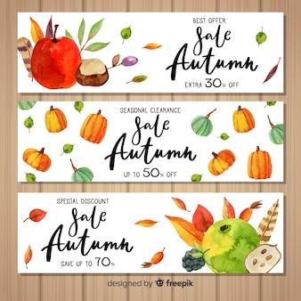 Modelo de banners de venda outono aquarela