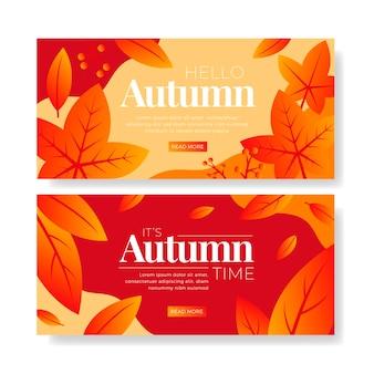 Modelo de banners de venda outono design plano
