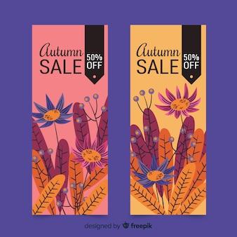 Modelo de banners de venda outono mão desenhada