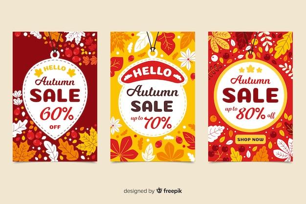 Modelo de banners de venda plana outono