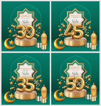 Modelo de banners de venda ramadan e eid
