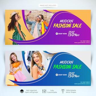 Modelo de banners de web de venda de moda