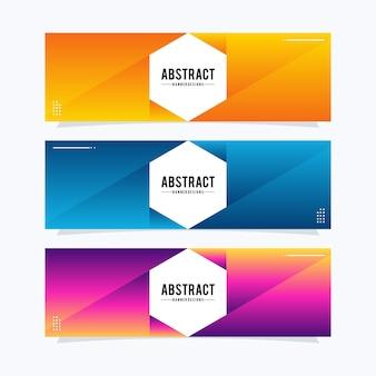 Modelo de banners de web hexágono moderno. design universal para empresas de publicidade