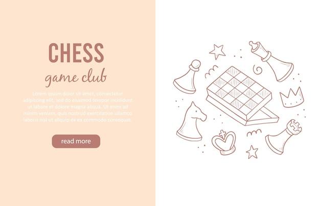 Modelo de banners desenhados à mão com elementos de jogo de xadrez de desenho animado