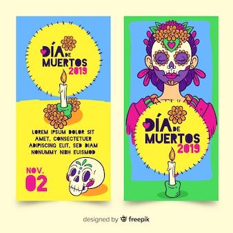 Modelo de banners desenhados à mão dia de muertos
