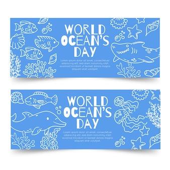 Modelo de banners do dia mundial dos oceanos