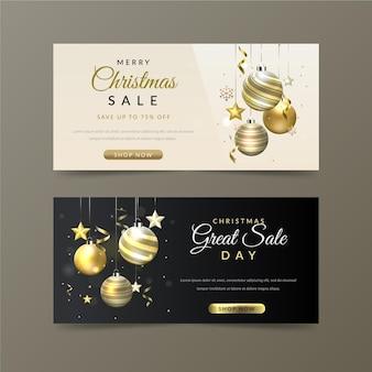 Modelo de banners dourados de venda de natal