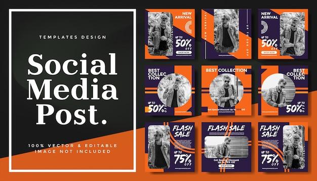Modelo de banners editáveis de mídias sociais para promoção de moda de marketing digital