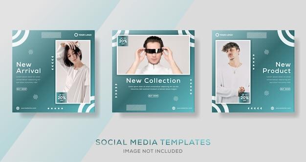 Modelo de banners geométricos abstratos para postagem de instagram de mídia social.