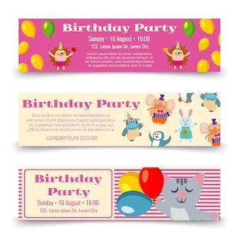 Modelo de banners horizontais de festa de aniversário