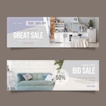 Modelo de banners horizontais de venda de móveis com descontos especiais