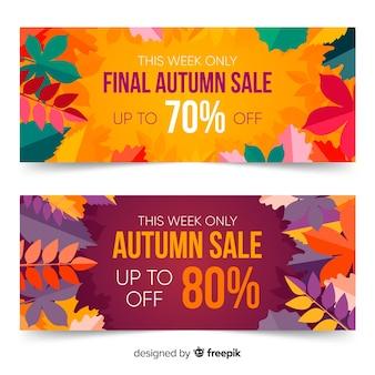 Modelo de banners outono plana com folhas
