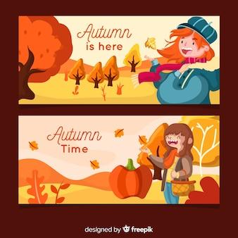 Modelo de banners outono plana com meninas