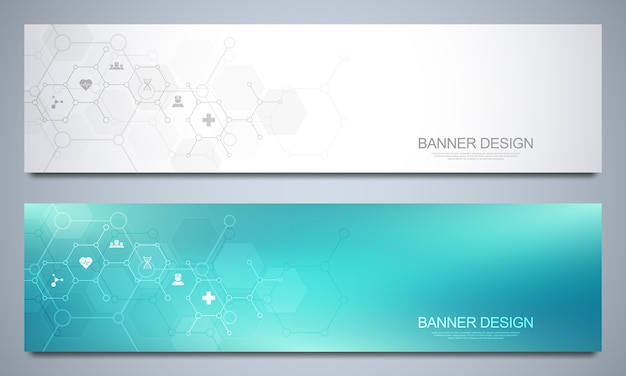Modelo de banners para decoração médica e de saúde com ícones e símbolos. conceito de tecnologia de ciência, medicina e inovação.