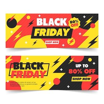 Modelo de banners pretos de design plano