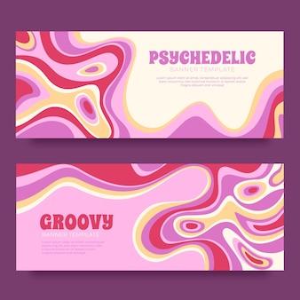 Modelo de banners psicodélicos descolados desenhados à mão