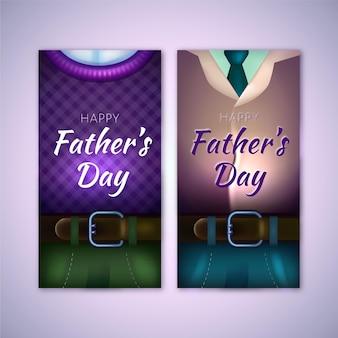 Modelo de banners realista do dia dos pais