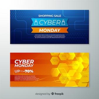 Modelo de banners realista segunda-feira cyber