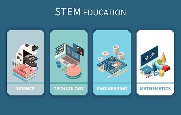 Modelo de banners verticais de educação stem 4 com acessórios de símbolos matemáticos de engenharia de ciência, tecnologia