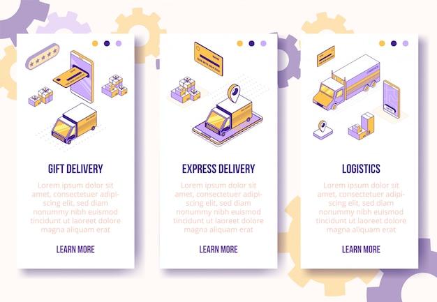 Modelo de banners verticais. negócio social isométrico cenas-mobile phone, carro, caminhão, caixas, cartão bancário, conceito on-line da web