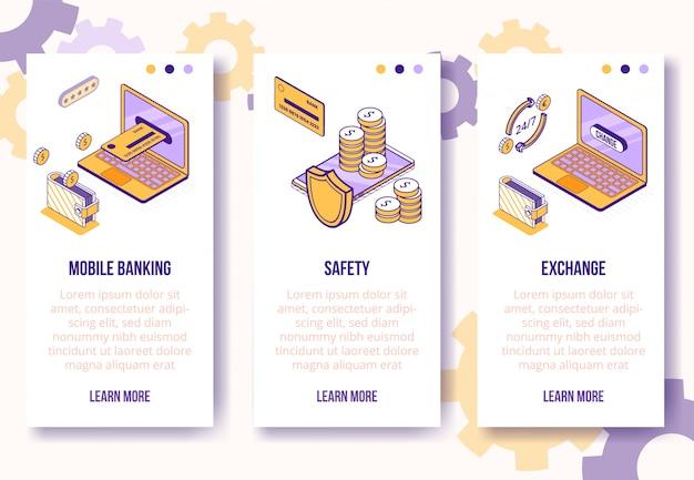 Modelo de banners verticais. negócios isométrica financeira ícones-mobile phone, laptop, cartão de banco, carteira, conceito on-line de moedas-web
