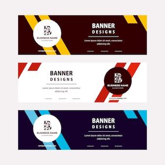 Modelo de banners web de projetos planos com elementos diagonais para uma foto. design universal para empresas de publicidade