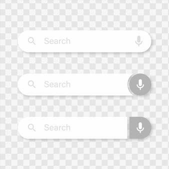 Modelo de barra de pesquisa com ícone de voz ou modelo de interface de usuário de caixas de pesquisa para aplicativos e site