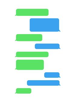 Modelo de bate-papo de bolhas de mensagem para caixa de bate-papo do messenger em fundo branco