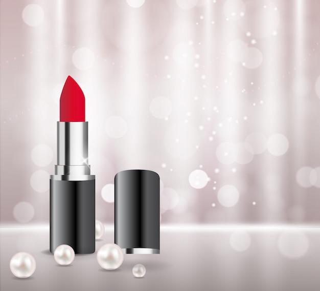 Modelo de batom de produto de cosméticos de design