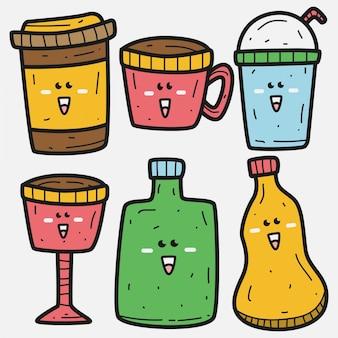 Modelo de bebida doodle kawaii