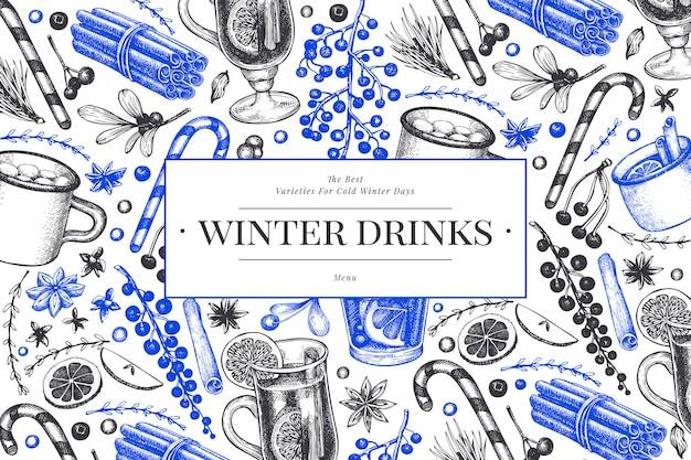 Modelo de bebidas de inverno. mão desenhada estilo gravado mulled vinho, chocolate quente, ilustrações de especiarias. fundo de natal vintage.
