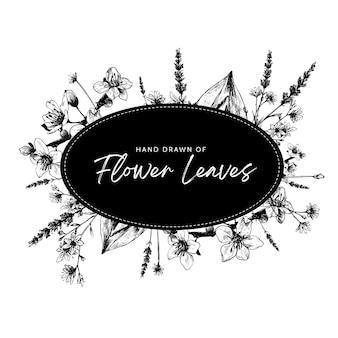 Modelo de bela moldura com moldura oval ornamentada de flor tropical para saudação de festa de casamento decorada com bela flor desenhada à mão em preto e branco