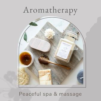 Modelo de bem-estar de aromaterapia psd / com fundo de produtos de cuidados corporais de spa
