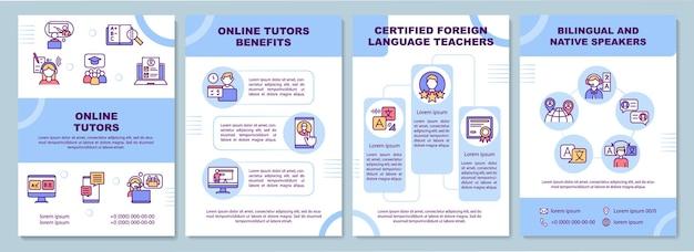 Modelo de benefícios de tutores online. falantes bilíngües. folheto, folheto, impressão de folheto, design da capa com ícones lineares.