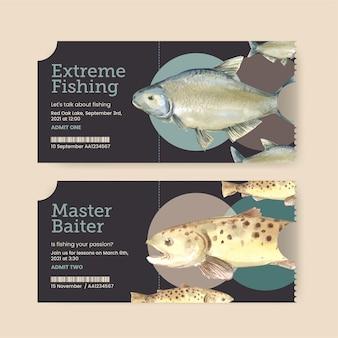 Modelo de bilhete com conceito de acampamento de pesca, estilo aquarela