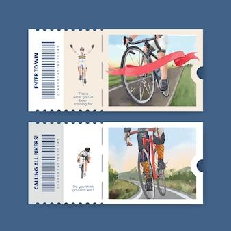 Modelo de bilhete com conceito de dia mundial da bicicleta, estilo aquarela