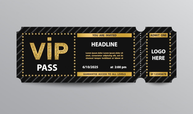 Modelo de bilhete de admissão de passe vip