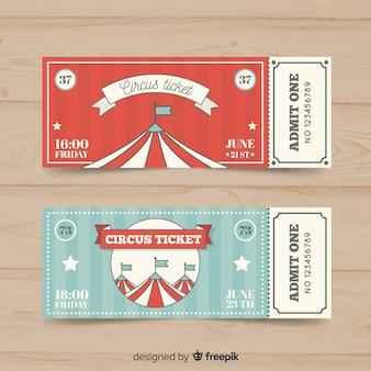 Modelo de bilhete de circo plana