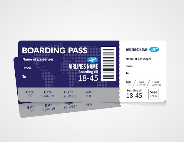 Modelo de bilhete de embarque de avião