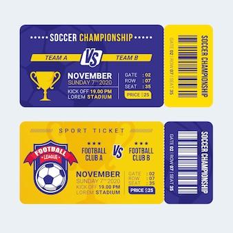 Modelo de bilhete de entrada de esporte futebol