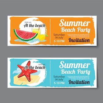 Modelo de bilhete de festa na piscina de verão