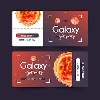 Modelo de bilhete de galáxia com planeta, ilustração em aquarela de sol.