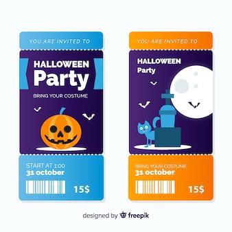 Modelo de bilhete de halloween moderno