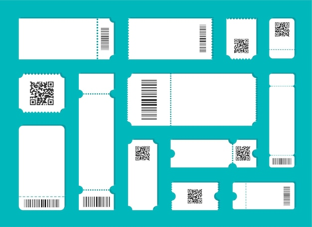 Modelo de bilhete em branco definido com qr e código de barras.