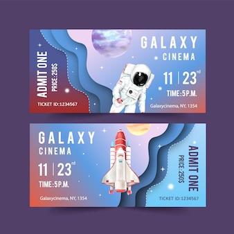 Modelo de bilhete galaxy com foguete, astronauta, ilustração em aquarela de planetas.