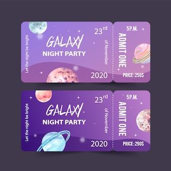 Modelo de bilhete galaxy com ilustração em aquarela de planetas.