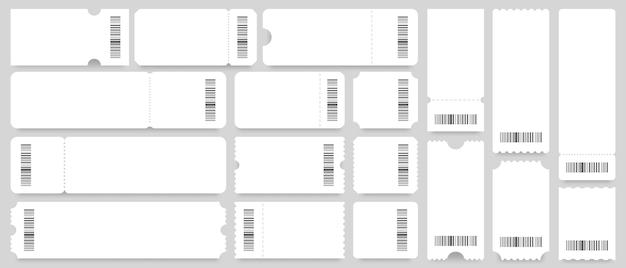 Modelo de bilhete ou cupom. bilhetes brancos vazios, cupons vintage com código de barras